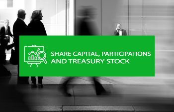 Share capital, participations and treasury stock